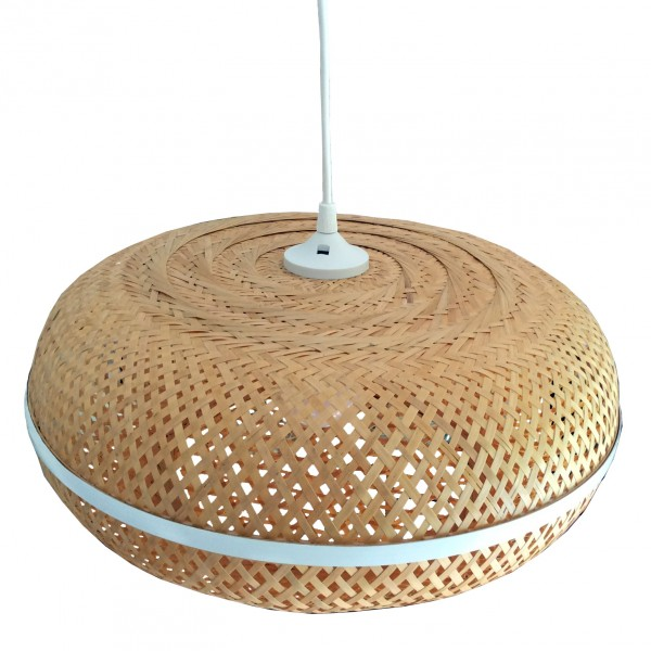 Luminaire en bambou tress de forme ronde tr s l ger for Suspension luminaire ronde