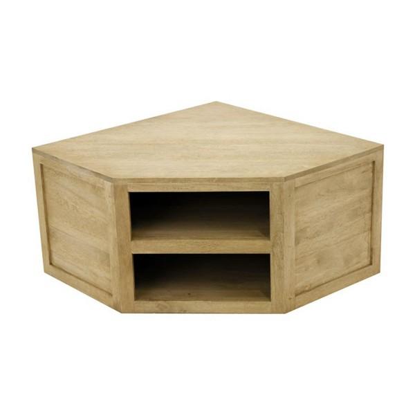meuble bas d 39 angle cologique id al tv avec 2 niche bois contemporain. Black Bedroom Furniture Sets. Home Design Ideas