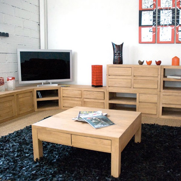 petit meuble bas cologique bois clair. Black Bedroom Furniture Sets. Home Design Ideas