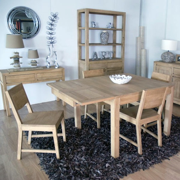 table de repas carr e cologique extensible. Black Bedroom Furniture Sets. Home Design Ideas