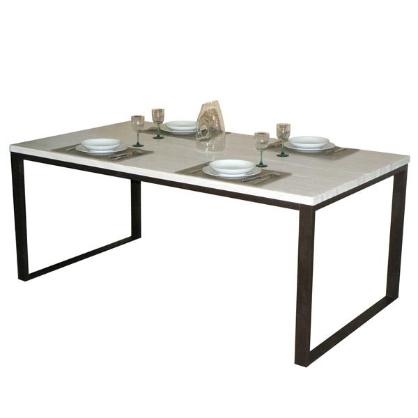 table manger de 100cm contemporaine en bois massif et pied fer. Black Bedroom Furniture Sets. Home Design Ideas