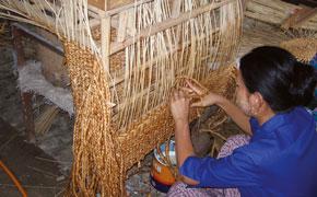 Tissage d'une tresse de jacinthe d'eau