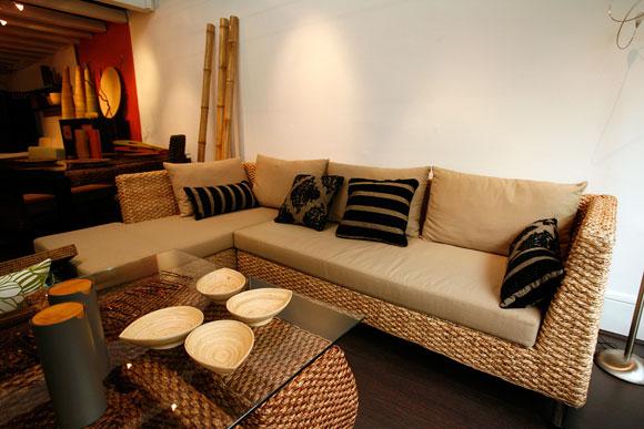 Grand canapé d'angle Tandem beige Onature